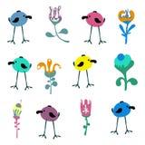 Naadloos patroon met leuke hand getrokken krabbelvogels, bloemen en bladeren royalty-vrije illustratie