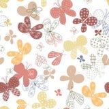 Naadloos patroon met leuke hand getrokken vlinders stock illustratie