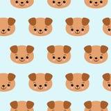 Naadloos patroon met leuke honden Vector dierlijke achtergrond Leuk naadloos patroon met puppy royalty-vrije illustratie