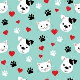 Naadloos patroon met leuke katten en honden Mooi vectorillustratie en ontwerp voor stoffen, textiel, behang en royalty-vrije illustratie