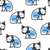 Naadloos patroon met leuke krabbel ijsbeer royalty-vrije illustratie