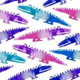 Naadloos patroon met leuke krokodillen royalty-vrije stock afbeeldingen