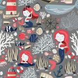 Naadloos patroon met leuke meerminnen, vuurtoren, vissen, shells, anker, zeester enz. Overzees of het oceaanleven Textuur stock illustratie
