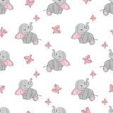Naadloos patroon met leuke olifanten en vlinders Stock Foto's