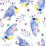Naadloos patroon met leuke papegaaien en bladeren royalty-vrije stock afbeelding