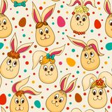 Naadloos patroon met leuke Pasen-konijnen Royalty-vrije Stock Fotografie