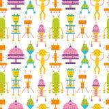 Naadloos patroon met leuke robots op witte achtergrond Achtergrond met stuk speelgoed cyborgs, elektronische monsters Kleurrijke  vector illustratie