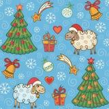 Naadloos patroon met leuke schapen Stock Foto
