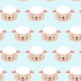 Naadloos patroon met leuke schapen op blauw Vectorachtergrond voor jonge geitjes royalty-vrije illustratie