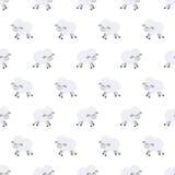 Naadloos patroon met leuke schapen Vectorachtergrond voor jonge geitjes De stijl van het beeldverhaal De krabbel van kinderen bab royalty-vrije illustratie