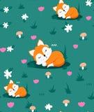 Naadloos patroon met leuke slaapvos en bloemen, paddestoelen, kruid Vector illustratie royalty-vrije illustratie