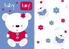 Naadloos patroon met leuke teddybeer Charmante druk voor kinderen, affiche, de kleding van kinderen, prentbriefkaar Vector illust vector illustratie