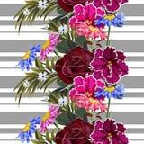Naadloos patroon met leuke tuinbloemen op gestreepte achtergrond stock illustratie