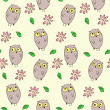 Naadloos patroon met leuke uilen en bloemen stock illustratie