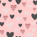 Naadloos patroon met leuke verfraaide harten Schets, met de hand getrokken krabbel, stock illustratie