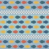 Naadloos Patroon met Leuke Vissen in Retro Kleuren Royalty-vrije Stock Afbeeldingen