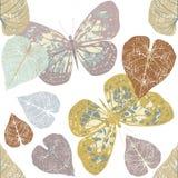 Naadloos patroon met leuke vlinders en bladeren stock illustratie