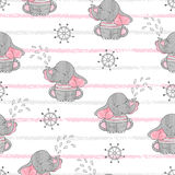Naadloos patroon met leuke zeemansolifanten Stock Foto