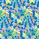 Naadloos patroon met libellenpastelkleur op blauwe achtergrond stock afbeelding