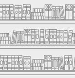 Naadloos patroon met lineaire boeken op een boekenrek Royalty-vrije Stock Foto