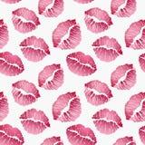 Naadloos patroon met lippendrukken, rode lippen op witte achtergrond Vector illustratie vector illustratie