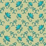 Naadloos patroon met lotuses stock illustratie