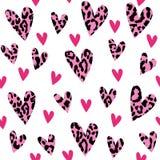 Naadloos patroon met luipaardharten, in ontwerp, vectorillustratieachtergrond Stock Fotografie