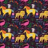 Naadloos patroon met magische dieren onder planten en vlinders Royalty-vrije Stock Foto