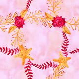 Naadloos patroon met marien installaties, bladeren en zeewier Hand getrokken mariene flora in waterverfstijl stock foto