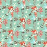 Naadloos patroon met meermin vector illustratie
