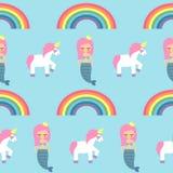 Naadloos patroon met meerminnen, eenhoorns en regenbogen op blauwe achtergrond Stock Foto's