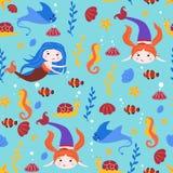 Naadloos patroon met meerminnen en pijlstaartrog - vectorillustratie, eps stock illustratie
