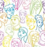 Naadloos patroon met mensengezichten - zeer grote menigte vector illustratie