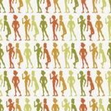 Naadloos patroon met mensensilhouetten Royalty-vrije Stock Foto