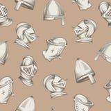 Naadloos patroon met middeleeuwse helmen, de gravure van de schetsstijl, vectorillustratie royalty-vrije illustratie