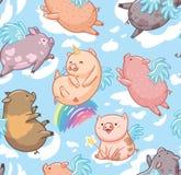 Naadloos patroon met mini piggy in de wolken Vector illustratie stock illustratie
