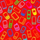 Naadloos Patroon met Mobiele apparaten Stock Afbeeldingen