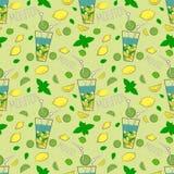 Naadloos patroon met Mojito-cocktail Hand getrokken illustratie stock illustratie