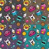 Naadloos patroon met monster en weet voedsel Stock Afbeeldingen