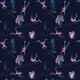 Naadloos patroon met mooie onderwatermeisjes Stock Illustratie