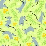 Naadloos patroon met mouses Achtergrond met leuke ratten in g Stock Foto's