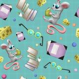 Naadloos patroon met muis, glazen, notitieboekje, kaas en boeken vector illustratie