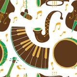 Naadloos patroon met muziekinstrumenten stock illustratie