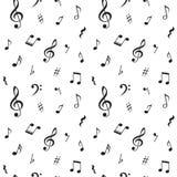 Naadloos patroon met muzieknota's Vector illustratie Royalty-vrije Stock Fotografie