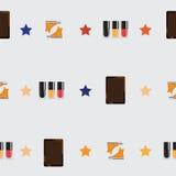 Naadloos patroon met nagellakflessen, gele tennisschoenen en tablet Vector naadloos ontwerp dat met sterren op licht wordt verfra Stock Afbeeldingen