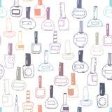 Naadloos patroon met nagellakflessen, kleurrijk op wit Stock Afbeeldingen