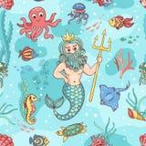 Naadloos patroon met Neptunus Royalty-vrije Stock Afbeeldingen