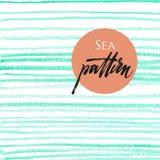 Naadloos patroon met oceaan blauwe strepen stock illustratie