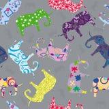 Naadloos patroon met olifanten Stock Foto