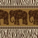 Naadloos patroon met olifanten en gestreepte huid. Royalty-vrije Stock Afbeelding